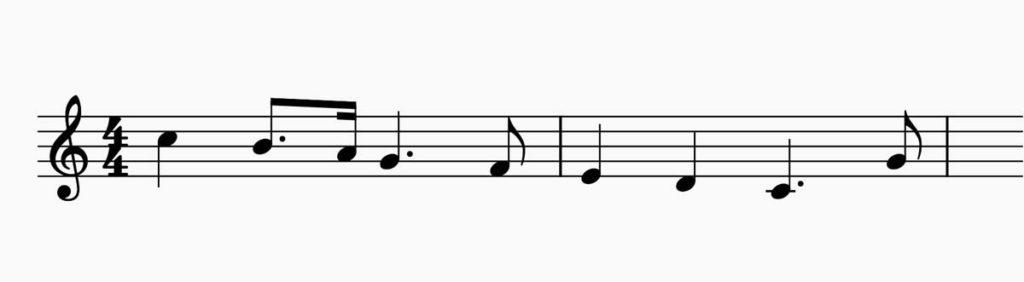 付点が付いている楽譜「もろびとこぞりて」の例